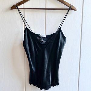Vintage Black Silk Camisole w/Rose Detail